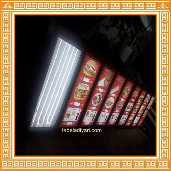 ışıklı lokanta menü tabelası açılır kapanır çerçeveli
